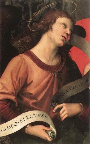 Raphael - Altarpiece of St. Nicholas of Tolentino (detail of an angel holding and inscription) 1501