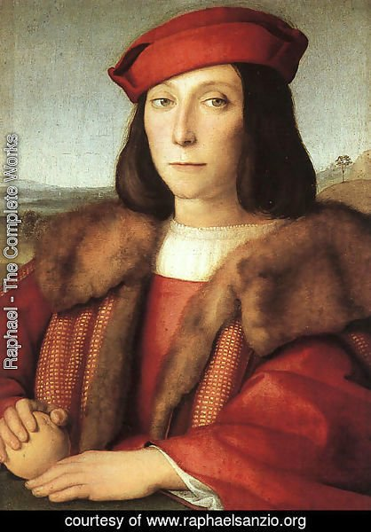 Raphael - Portrait of a Man with an Apple (possibly Francesco Maria della Rovere) 1503-04