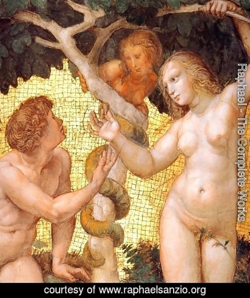 Raphael - The Stanza della Segnatura Ceiling: Adam and Eve [detail: 1]