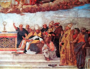 Raphael - Disputation of the Holy Sacrament (Detail) 7