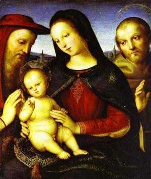 Raphael - Madonna With The Christ Child Blessing And St Jerome And St Francis (Von Der Ropp Madonna) 1502