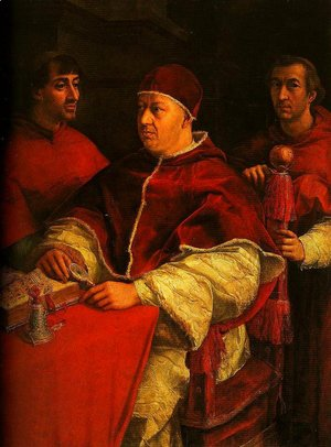 Raphael - Portrait of Leo X with Cardinals Giulio de Medici and Luigi de Rossi