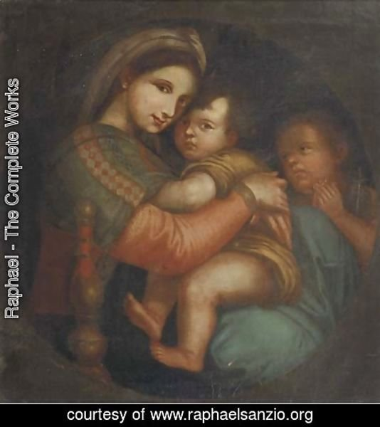 Raphael - The Madonna della Sedia, in a feigned tondo
