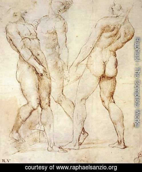 Raphael - Study of Three Nude Bearers