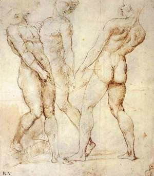 Study of Three Nude Bearers