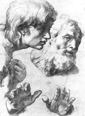 Heads and hands of the Apostles