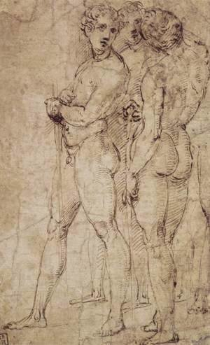 Raphael - Three Standing Nude Men
