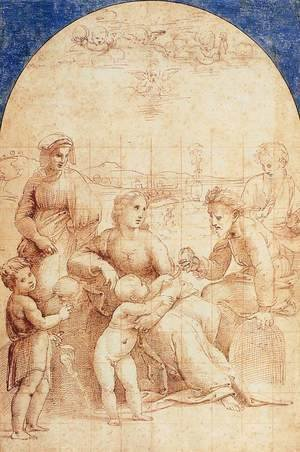 Raphael - Holy Family with St John the Baptist, Zacharias, and Elizabeth in a Landscape