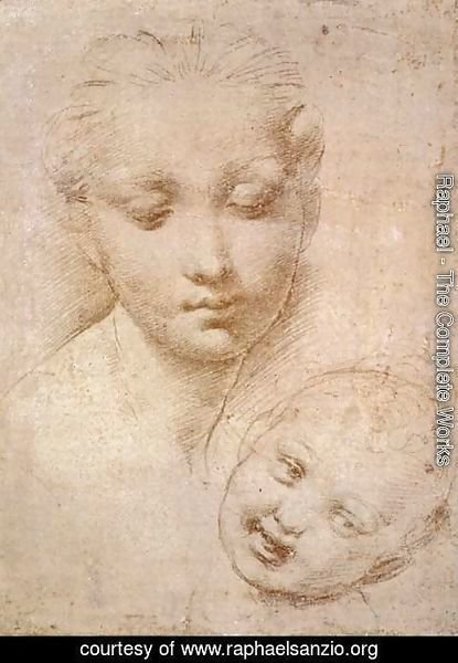 Raphael - Study of Heads, Mother and Child