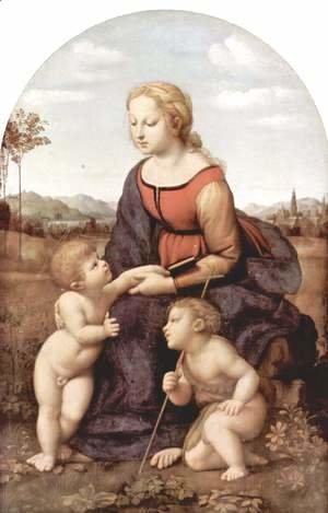 Raphael - The beautiful gardener, scene with Mary and Christ child, John the Baptist