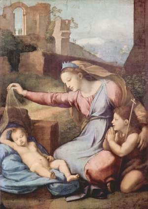 Raphael - Mary and John the Baptist praying the sleeping Christ child (Madonna with the crown)