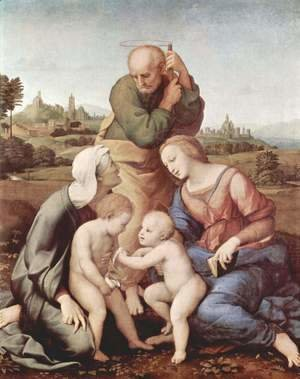 Raphael - Sacra Familia Canigiani, Scene Holy Family with St. Elizabeth and St. John the Baptist