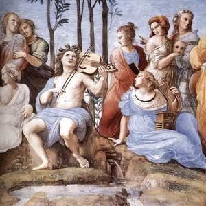 Raphael - The Parnassus, from the Stanza delle Segnatura (detail) 2