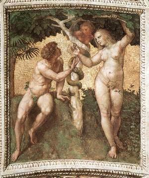 Raphael - The Stanza Della Segnatura Ceiling  Adam And Eve