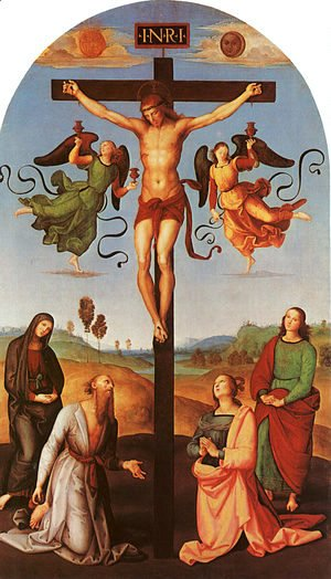 Raphael - Christ on the Cross with the Virgin, Saint Jerome, Mary Magdalene, and John the Baptist (Citta di Castello Altarpiece) 1502